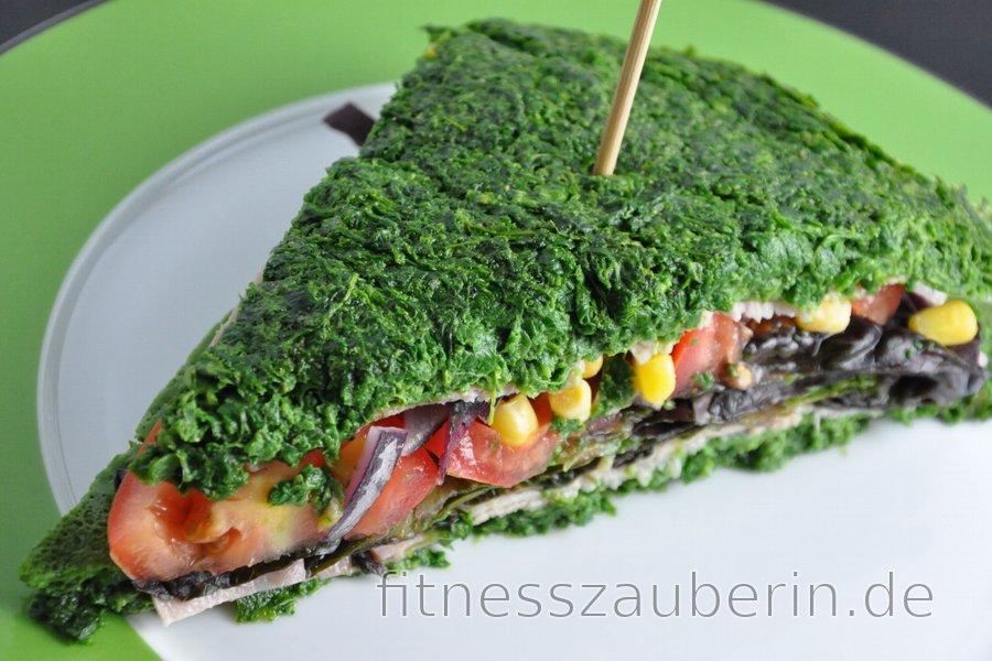 Kalorienarmes, glutenfreies Spinatsandwich