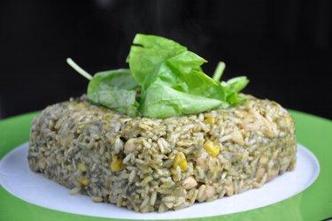 Leckerer Hühnerrisotto mit Spinat